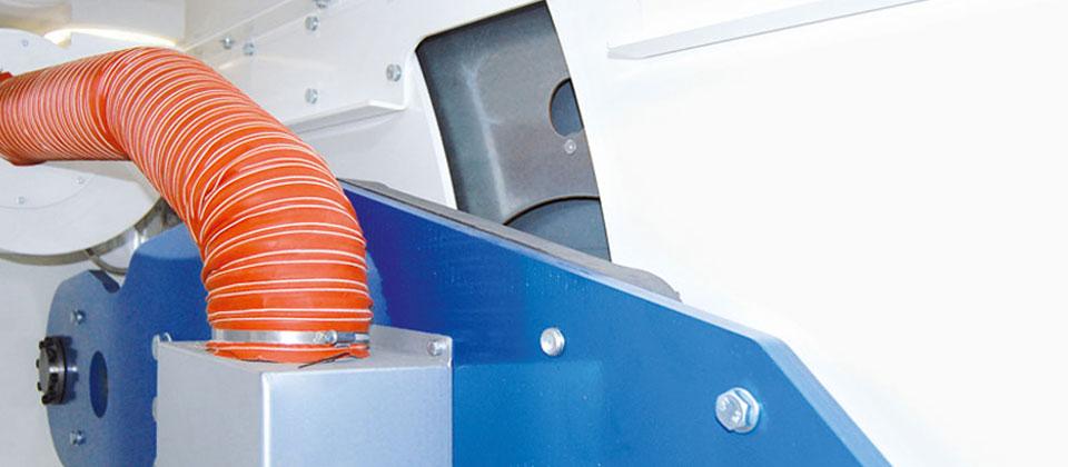 Absaugung mit Ventilator in den cleveren STAHL Muldenmangeln MASTERROLL